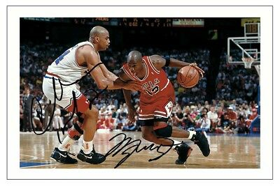 Michael Jordan & Charles Barkley Autograph Signed Photo Print Basketball