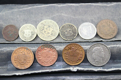 Switzerland 10 assorted coins   lot M213