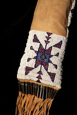 Native American Indian Authentic Antique Beaded Pipe Bag Circa 1910