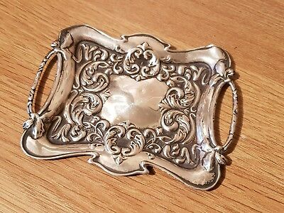 Antique Ornate  Sterling Silver Minituare Serving Tray