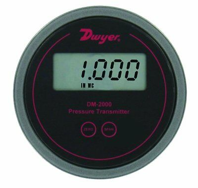 "Dwyer Series DM-2000 Differential Pressure Transmitter, Black Background, 0-5""WC"