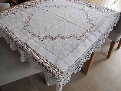 Vintage Beautiful White Lace  Table cloth Square