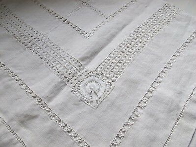 Vintage Embroidery Irish Linen Table Cloth