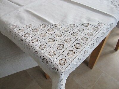 Vintage White Lace & Linen Table Linen Square