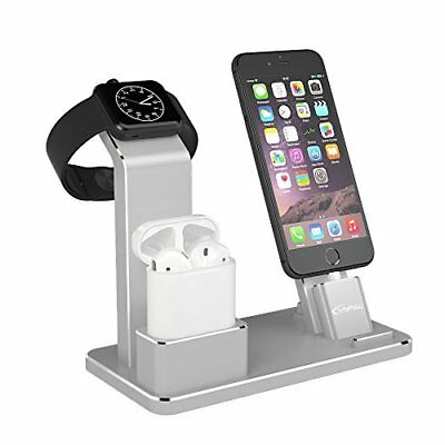 Apple Watch Stand Charging Docks for Apple Watch/ AirPods/ iPhone 8 Silver New