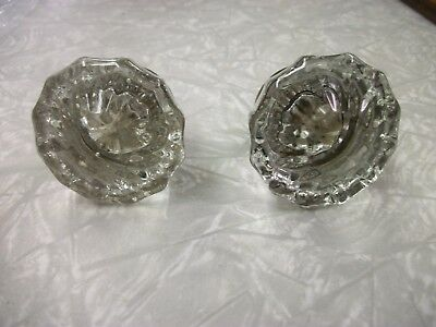 vintage set of two 12  point  clear glass door knobs