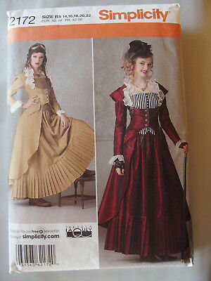 Simplicity 2172 Costume Steam Punk Bustier Coat Skirt 14-22 Sewing Pattern UC
