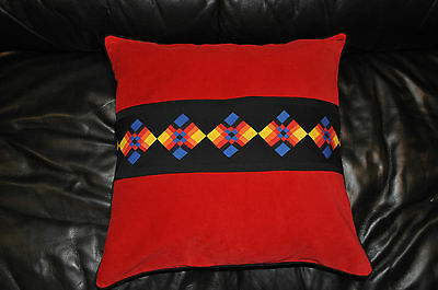 New Seminole Patchwork Throw Pillow (18x18) Red Corduroy!
