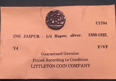 INDIAN PRINCELY STATES JAIPUR 1/4 RUPEE Year 21 (1901) 1880-1922 India VF