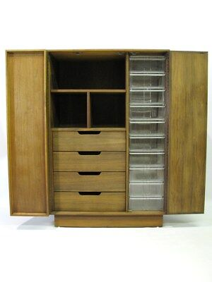 Striking & Unique Mid-Century Modern Walnut Clothes Cabinet; Near Mint Condition