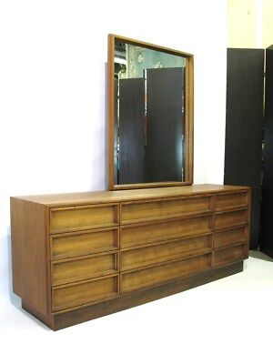 Striking Mid-Century Modern Walnut Dresser & Mirror; Near Mint Condition