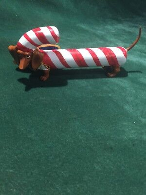 """Hot Diggity """"Candy Cane Doxie"""" By Westland # 16573"""