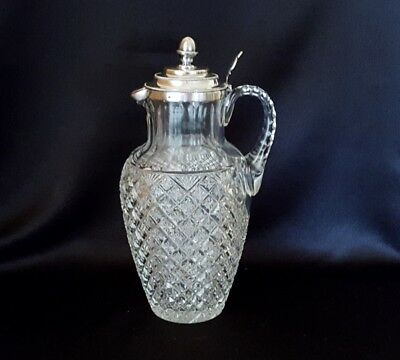 Antique Cut Glass Water Pitcher with Dutch Silver Lid Star in Diamond and Fan