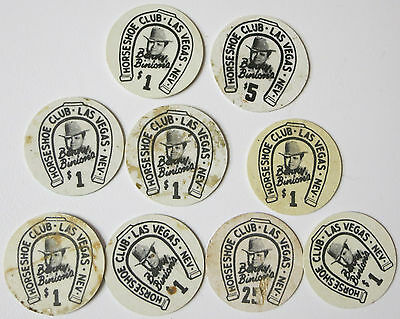 Set of 9 Benny Binion's 1960's Horse Shoe Club Las Vegas 1$ Poker Chip Centers