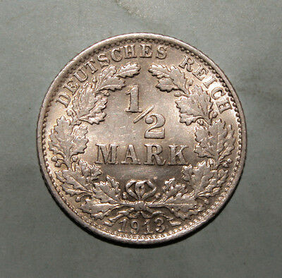 Germany 1/2 Mark 1913-F Uncirculated Silver Coin