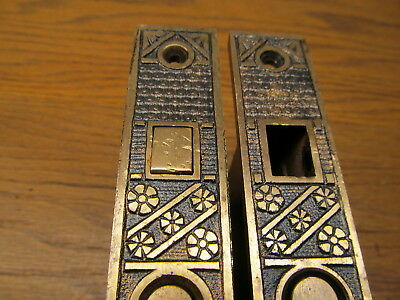 Pair F.c.linde Pattern Pocket Door Locks...brass ?? Bronze ?? Ornate