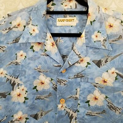 ae64cd0d Kamp Shirt US Air force Blue Hawaiian Military Bomber Fighter Pilot Planes  4X