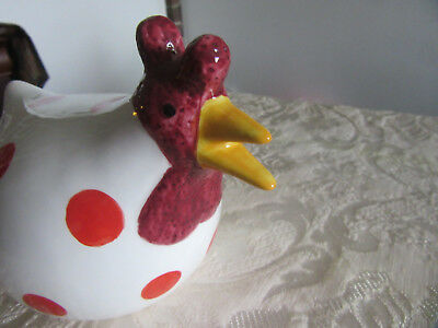 """white  w/red dots ceramic Chicken large Figurine 10"""" long.8"""" tall"""