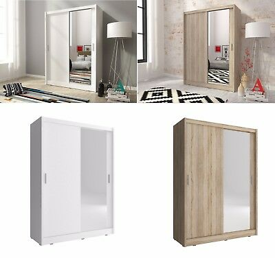 BRAND NEW MODERN SLIDING DOOR WARDROBE 130cm WHITE, LIGHT OAK + MIRROR