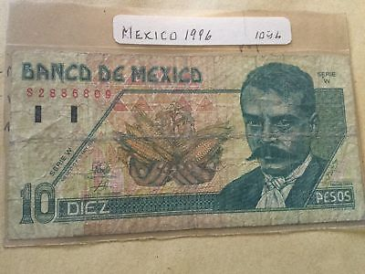 Mexico 10 Pesos Banknote 1996 Serial Number S2886809