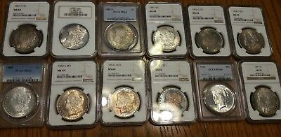 Lot Of Silver Dollars / Morgan & Peace / Ngc & Pcgs / Toned Coins