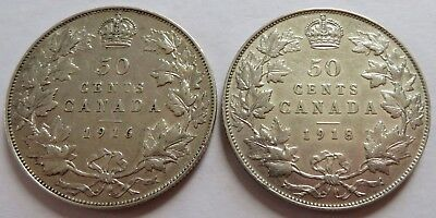 1916 +1918 Canada 50 Cents - VF, Vintage Canadian Silver 50C coins (161710G)