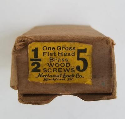"130 Vintage #5 --1/2"" Flat Head Brass Slotted Wood Screws NOS Box"