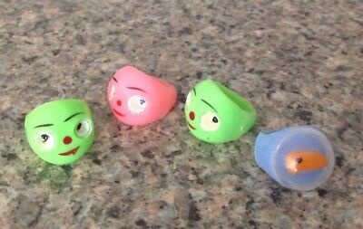 Vintage Toy Rings Cracker Jack Or Gumball Lot of 4- Hong Kong, Goldfish in Bowl