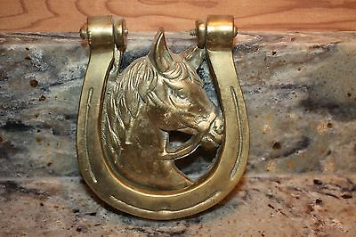 Vintage Brass Horse Head In A Horse Shoe Door  Knocker