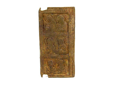 BEAUTIFUL LATE BYZANTINE, EARLY MEDIEVAL BRONZE SMALL ICON with SIX SAINTS+++