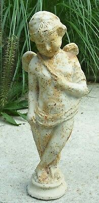 Estate ~ HARD TO FIND Cast Iron Garden Statue CHERUB Angel