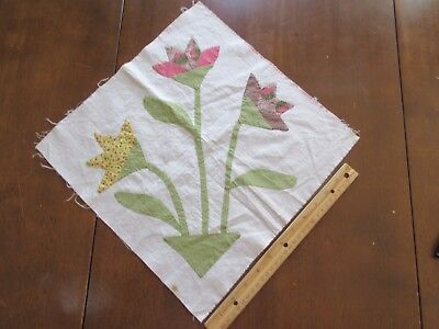 Antique/Vintage Quilt Blocks - Tulip! - hand applique from early 1900's