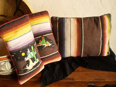 Vintage Mexican Serape Pillows Set Of 3 Southwest Western