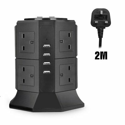 Vertical Power Strip, EletecPro Tower Extension Lead Smart Socket 2M/6.6ft With
