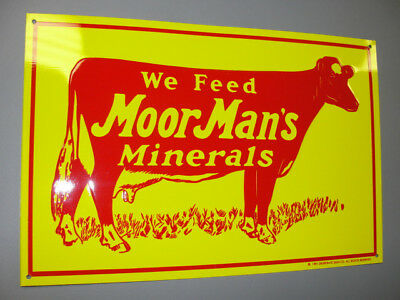 MoorMan's Minerals Cow Cattle Feed Farm Embossed Tin Sign