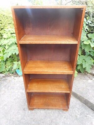 small vintage solid oak bookcase with solid back in good used condition
