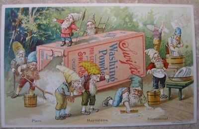 Antique Victorian Advertising Soap Powder Trade Card With Elves