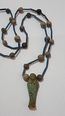 "Amazing Egyptian Terracotta Necklace Mummy Beads, with USHABTI Amulet, 32"" /1"
