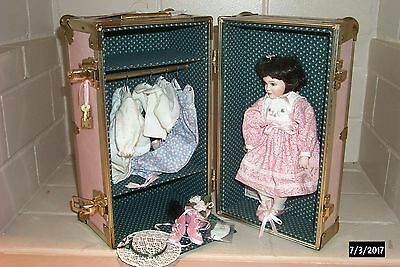 """Alice Lester Original Jointed Porcelain Artist Doll Emily 12"""" With Trunk & Acces"""