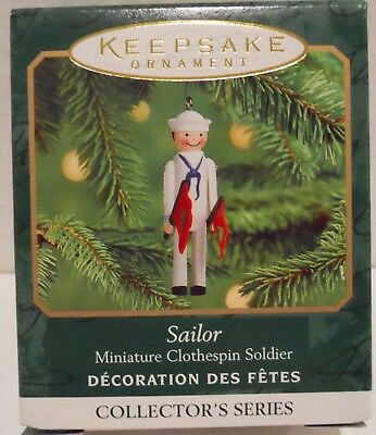 2000 Hallmark Miniature Ornament Sailor Clothespin Soldier, MIB