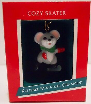1989 Hallmark Miniature Ornament Mouse Ice Skating, MIB