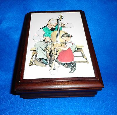 "Hallmark NORMAN ROCKWELL Wood Jewelry Music Box ""Oh Susanna"" FREE SHIPPING"