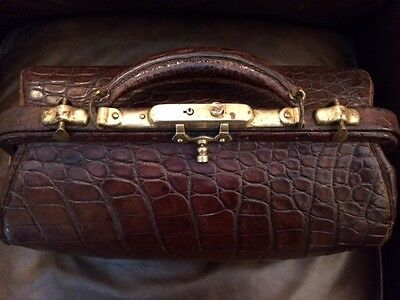 Antique Alligator  Brass Doctor Bag LE Morrison & Co