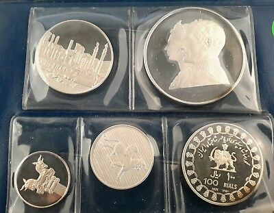 1971 Iran Proof 5 Coin Set With Double 100 Rials