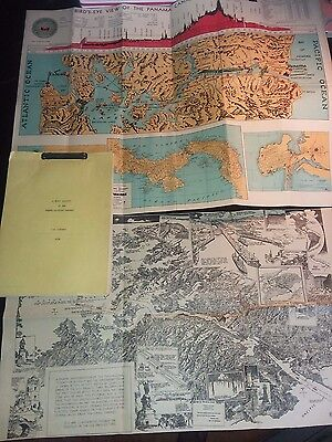 1925 Pictoral Map The Panama Canal By Charles H. Owens & Bird's Eye View Map...