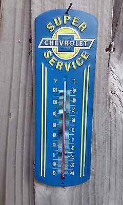 Chevrolet Super Service Metal Sign Thermometer 12 By 4 Inch Vintage Style