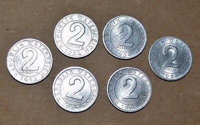 1952 - 1968 AUSTRIA EAGLES vintage coins lot foreign 2 GROSCHEN uncirculated