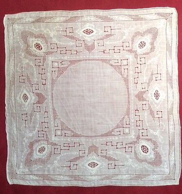 Amazing Vintage Ivory Hankie / Handkerchief w/ Pullwork, Embroidery & Inserts