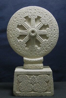 Stone Double-Sided Buddhist Dharmachakra, Wheel of Law Thai/Khmer, 9th/10th Cent
