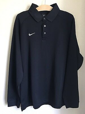 Mens NIKE Black Dri Fit Polyester Long Sleeve POLO Shirt Golf Size L LARGE XL